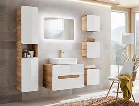 Meble łazienkowe z umywalką Aruba UNI 60-1 dąb craft złoty/biały połysk + LED