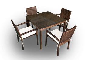 Meble ogrodowe Adorazione stół + 4 krzesła technorattan ciemny brąz