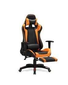 Fotel gabinetowy Defender 2 czarny/pomarańcz ekoskóra podnóżek Halmar