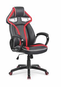 Fotel gabinetowy Honor czarny/czerwony eco skóra/tkanina membranowa Halmar