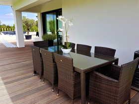 Meble ogrodowe Gustoso Grande stół + 8 krzeseł technorattan brąz