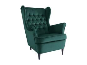 Fotel uszak Harry zielona tkanina velvet signal
