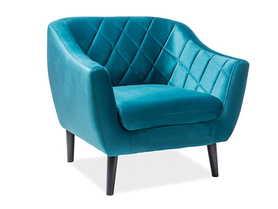 Fotel 1 os. Molly turkusowa tkanina velvet signal