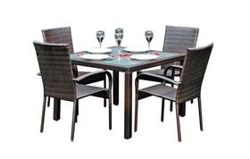 Meble ogrodowe Eccellente stół + 4 krzesła technorattan ciemny brąz