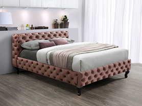 Łóżko sypialniane Herrera 160x200 antyczny róż tkanina velvet/venge drewno signal
