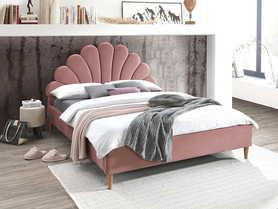 Łóżko sypialniane Santana 160x200 antyczny róż velvet/dąb drewno signal