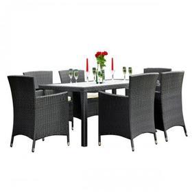 Meble ogrodowe Capitale stół + 6 krzeseł czarny technorattan