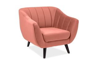 Fotel 1 os. Elite antyczny róż tkanina velvet signal