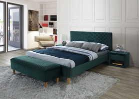 Łóżko sypialniane Azurro 180x200 zieleń velvet signal
