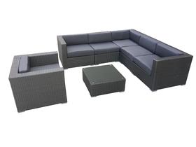 Meble ogrodowe modułowe ALTRO narożnik + fotel + ława szary technorattan