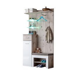 Przedpokój/garderoba gustavo i dąb wellington mat/biały połysk + led