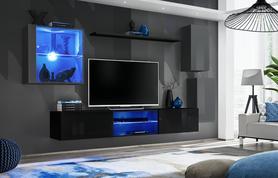 Meblościanka Switch 23 grafit - czarny mat/połysk + LED