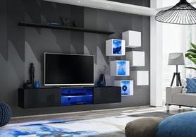 Meblościanka Switch 21 czarno - biały mat/połysk + LED
