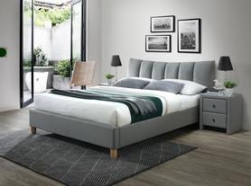 Łóżko sypialniene sandy 2 160x200 popiel tkanina/drewno buk halmar