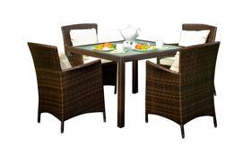 Meble ogrodowe Pazzo stół + 4 krzesła technorattan ciemny brąz