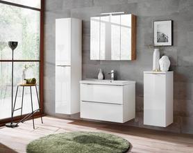 Meble łazienkowe z umywalką 80 cm Capri biały połysk/dąb craft złoty+ LED