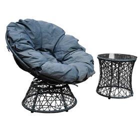 Meble ogrodowe Twist fotel + stolik szary technorattan