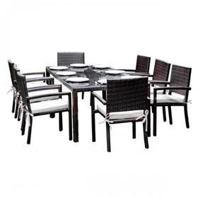 Meble ogrodowe Ombroso stół + 8 krzeseł ciemny brąz technorattan