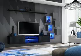 Meblościanka Switch 21 czarny - grafit mat/połysk + LED