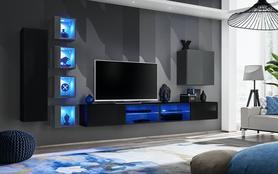 Meblościanka Switch 26 czarny - grafit mat/połysk + LED