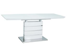 Rozkładany stół Leonardo 160(220)x90 biały lakier mdf/szkło/stal Signal
