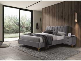 Łóżko sypialniane Mirage 160x200 szary velvet/złoty metal signal