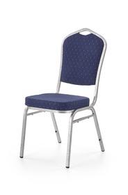 Krzesło K-68 niebieski/srebrny tkanina/stal Halmar