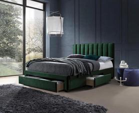 Łóżko sypialniane Grace ciemny zielony tkanina velvet/drewno szuflady Halmar
