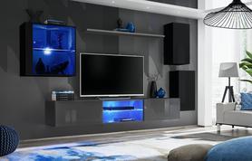 Meblościanka Switch 23 czarny - grafit mat/połysk + LED
