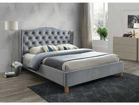 Łóżko sypialniane Aspen szary velvet 140x200 signal