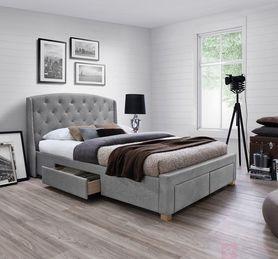 Łóżko Madison 160x200 szara tkanina/dąb drewno signal