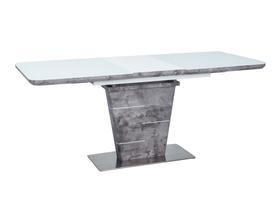 Rozkładany stół Ilario 140(180)x80 biały/efekt betonu mdf/szkło/stal Signal