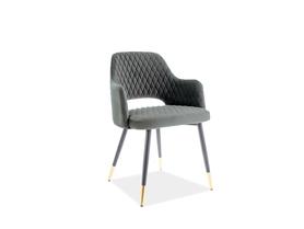 Krzesło Franco szary velvet/czarny+złoty metal signal