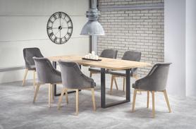 Rozkładany stół Venom 160(210)x90 dąb wotan/czarny płyta meblowa+ABS/stal Halmar