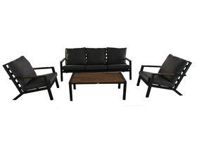 Meble ogrodowe Misterioso sofa + 2 fotele+ ława czarne aluminium