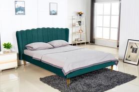Łóżko sypialniane Valverde 160x200 ciemny zielony/złoty tkanina velvet/chrom Halmar