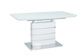 Rozkładany stół Leonardo 140(180)x80 biel mdf/szkło/stal Signal