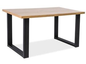 Stół Umberto 120x80 lity dąb/czarny drewno/metal Signal