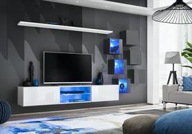 Meblościanka Switch 21 biały - grafit mat/połysk + LED