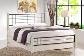 Łóżko sypialniane Viera 120x200 biały/czarny drewno/stal Halmar