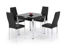 Rozkładany stół Kent 80(130)x80 czerń szkło/stal Halmar