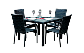 Meble ogrodowe Eccellente stół + 4 krzesła czarny technorattan