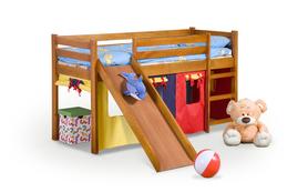 Neo plus łóżko piętrowe ze zjeżdżalnią i materacam olcha halmar