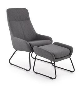 Fotel z podnóżkiem Bolero tkanina popiel/czarna stal halmar