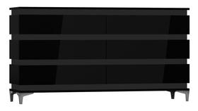 Komoda Zebra 160 cm czarny mat/czarny połysk