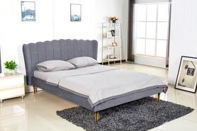 Łóżko sypialniane Valverde 160x200 popiel/złoty tkanina velvet/chrom Halmar