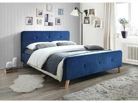Łóżko sypialniane Malmo 160x200 granat velvet/dąb drewno signal