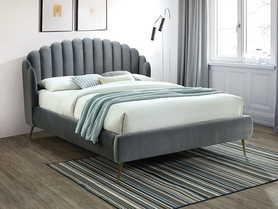 Łóżko sypialniane Calabria 160x200 szary velvet signal