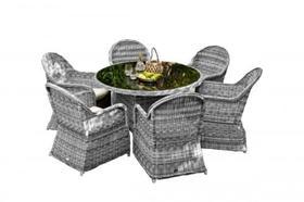 Meble ogrodowe Forte stół + 6 krzeseł szary technorattan