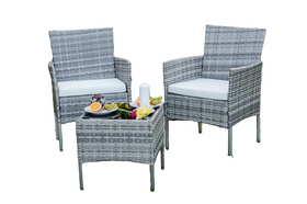 Meble ogrodowe SANO 2 fotele + ława technorattan szary